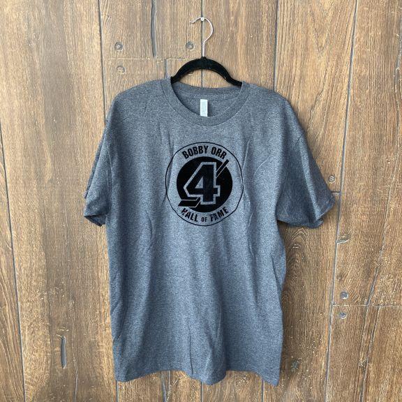 grey tshirt with Bobby Orr Hall of Fame logo in velvet decal