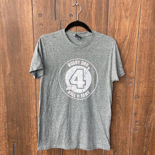 distessed Bobby Orr hall of fame logo printed on grey tshirt